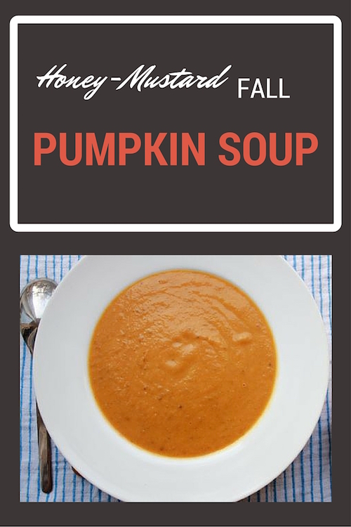 Creamy honey-mustard pumpkin soup - add a fresh piece of bread and you have a meal!
