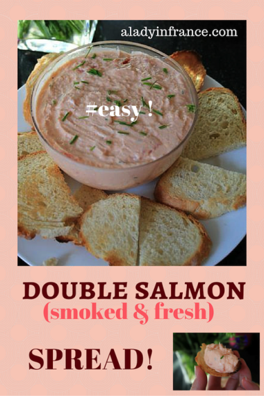 Double salmon spread - smoked and fresh, blended with butter, etc. Perfect #appetizer ! With @aladyinfrance