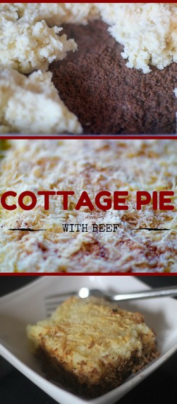 Cottage pie is like shepherd's pie - ground meat topped with mashed potatoes and cheese - except that it's made from beef instead of lamb.