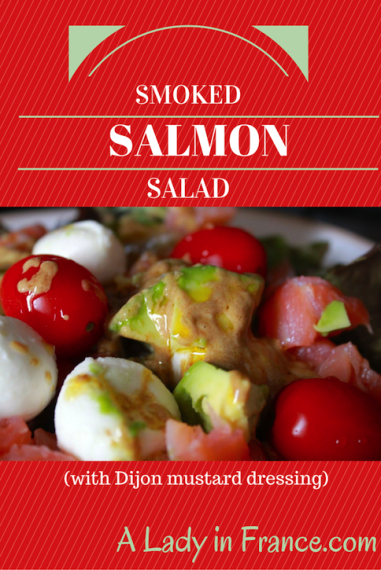 Smoked Salmon Salad with avocado & Dijon mustard dressing. @aladyinfrance