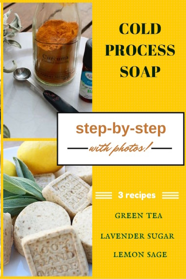 This vegan recipe is for lemon-sage cold process soap. There are photos and instructions to simplify the process.