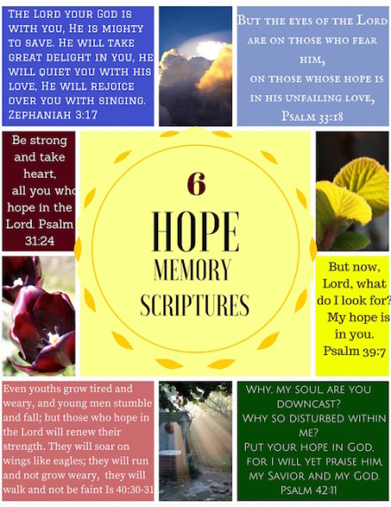 Free printable with memory scriptures on Hope to fight against depression and despair.
