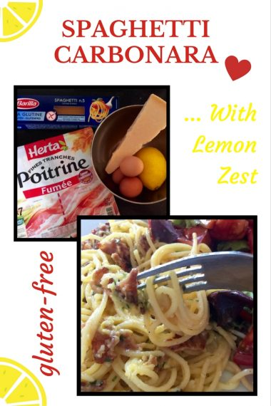 This is a gluten-free version of spaghetti carbonara with lemon zest instead of cream.